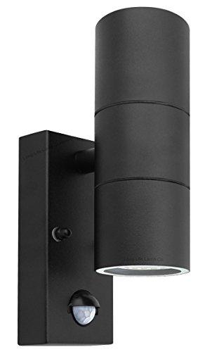 Long Life Lamp Company Applique Murale extérieure IP44 en Acier Inoxydable avec détecteur de Mouvement Noir Haut/Bas Acier Inoxydable
