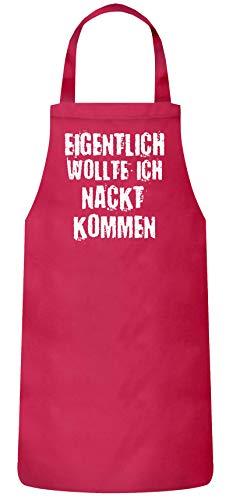 ShirtStreet Fasching Karneval Gruppen Frauen Herren Barbecue Baumwoll Grillschürze Kochschürze Eigentlich wollte ich nackt kommen, Größe: OneSize,Pink -