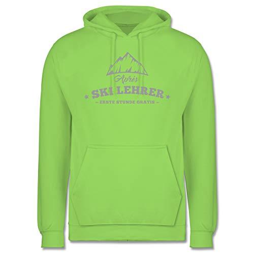 Après Ski - Après Ski Lehrer - Stunde Gratis - L - Limonengrün - JH001 - Herren Hoodie (Ski Lehrer Kostüm)