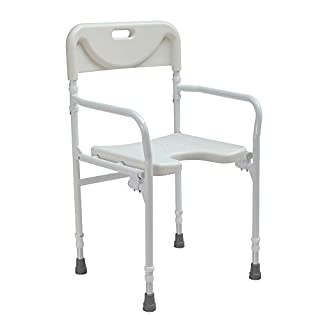 Lightweight folding wetroom shower  seat chair with backrest - adjustable height