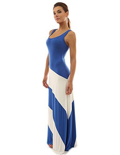PattyBoutik Damen Racerback gestreiftes Maxi-Kleid mit Rundhalsausschnitt und ärmellos (Blau und Elfenbeinweiß 36/S) -