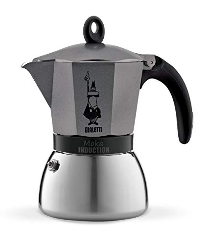 Bialetti Moka Induction, Caffettiera 6 Tazze, Antracite