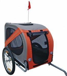Hundeanhänger Fahrrad Hundefahrradanhänger orange-grau mit Sicherheits-Drehkupplung -