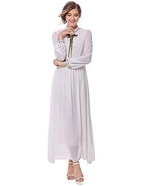 Vestido de otoño, retro manga larga, delgada, moda, largo péndulo grande