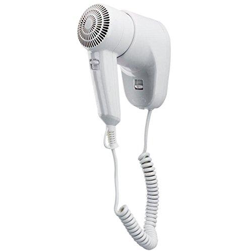 Asciugacapelli da parete 1300w con pulsante di sicurezza acceso/spento e 2 velocità - montaggio a muro ideale per hotel, alberghi, spogliatoi, palestre. idea salvaspazio anche il bagno di casa