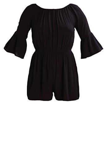 Even&Odd Jumpsuit Damen kurz in Gelb o. Schwarz mit Taillenbund �?Sommer Overall mit ausgestelltem Ärmel, Einteiler für Strand, Playsuit elegant & sexy Schwarz