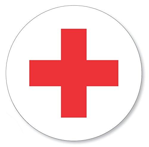 12 X Aufkleber rotes Kreuz rund Ø 30 mm, Folienaufkleber Rotkreuz rot weiß (Auf-521k) - Rote Medizin