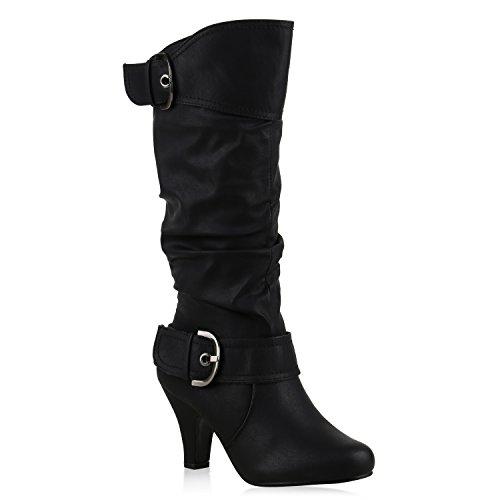 Warm Gefütterte Stiefel Damen Winter Boots Elegante Schnallen Trichterabsatz Wildleder-Optik Booties 42738 Schwarz Schnallen 39 Flandell (Wildleder-bootie Schwarze)