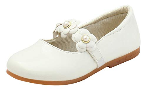 Eozy Kinderschuh Mädchen Ballerinas Schuhe Festliche Prinzessin Schuhe mit Blumen Weiß 31EU