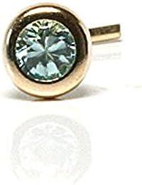 Or 9 carats 2,5 mm aigue marine-Oxyde de Zirconium Clous de nez