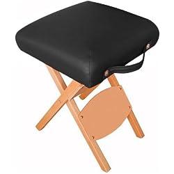 Harima - Hades Negro Profesional de peso ligero plegable silla de madera taburete silla para Belleza Spa Cosmética Masaje Terapia Tatuaje Artista Salón Manicura Terapia Deportiva Con ruedas, diseño de mesa Reiki y portátil