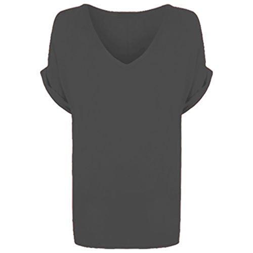 Re Tech UK Damen T-Shirt Charcoal Dark Grey