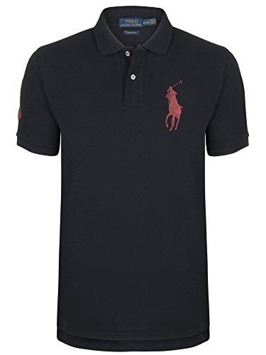 Ralph Lauren, Herren Poloshirt, Big Pony, schwarz/rot (L) (Ralph Lauren Pferd)