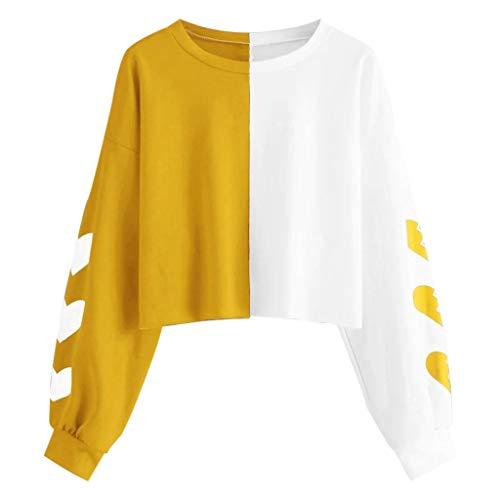 Berimaterry Damen Mode Herz Drucken Kontrastfarbe Sweatshirt Herbst Casual Rundhals Langarm Pullover Tops Kurz Bauchfreie Pulli Bluse für Teenager Mädchen -