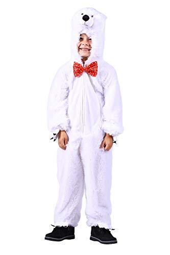 Thetru Eisbär-Kostüm in weiß | Plüschkostüm-Eisbär für Kinder zu Karneval und Fasching (140/152)