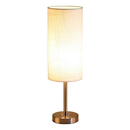 Lampara de mesa LAOSUNJIA Hierro Forjado Dormitorio Dormitorio Creativa (Color : Metalico, Tamaño : 50 * 15cm)