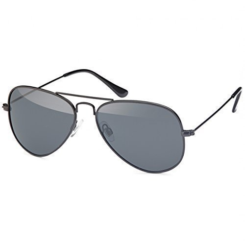 Retro Polarisiert Piloten-Brille Sonnen-brille Aviator Wayfarer Etui Nerd 20272, Rahmenfarbe:Schwarz