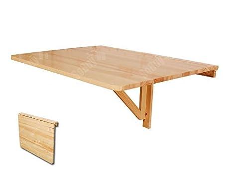 Table murale rabattable en bois 75×60cm, Table de cuisine -Couleur Claire/Naturel, FWT01-N
