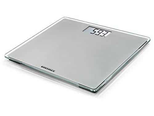 Soehnle Style Sense Compact 200, digitale Personenwaage, Stone Grey, Gewicht bis zu 180 kg in präzisen 100 Gramm Schritten, Waage inkl. Batterien, Körperwaage mit extraflachem Design, grau