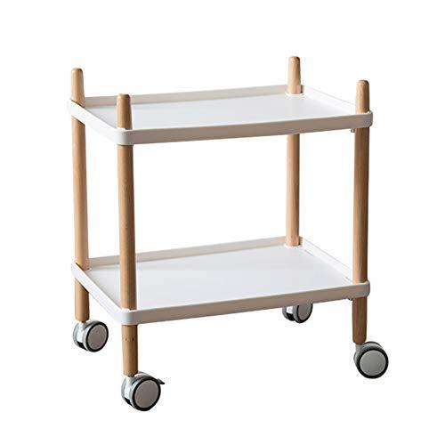 Salon Trolleys Trolley 2-Tier-Küchen-Catering-Service-Wagen, bewegliche Abstellfläche, Servierwagen mit Rädern, Tee-Weinwagen-Restaurant (Farbe : Weiß)
