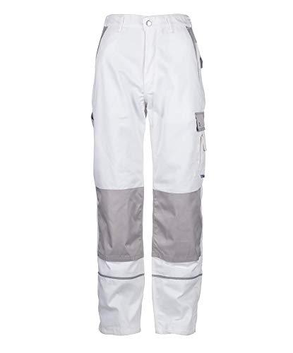 TMG® Herren Arbeitshose | Cargo Bundhose mit Kniepolster-Taschen & Reflektoren | Maler, Anstreicher, Tapezierer | Weiß 52