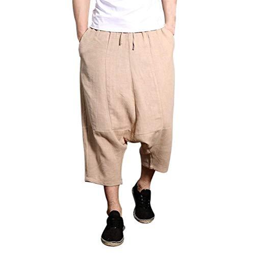"Adelina Sommer Cool Low Crotch Haremshose Bein Teenageralter Jungen Herren Breites Atmungsaktiv Leinen Hippie Casual Pants Hose (Color : Khaki, Size : Waist 36&quot-37"")"