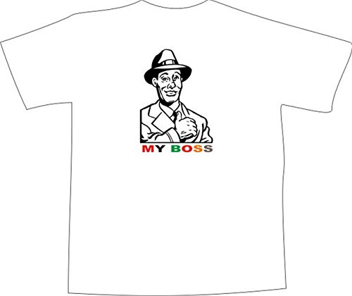 T-Shirt E1238 Schönes T-Shirt mit farbigem Brustaufdruck - Logo / Grafik / Design - Retro Motiv USA 50er / Mann mit Hut - Chef der Mafia Mehrfarbig
