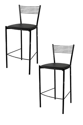 Tommychairs - Set 2 sgabelli Alti Moderni e di Design Elegance per Cucina, Bar e ristoranti Moderni, con Struttura in Acciaio Verniciata di Colore Nero e Seduta Imbottita in Ecopelle Nera