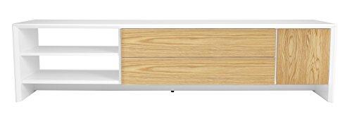 TENZO 5943-454 Profil Designer Banc-TV L 180, Blanc, Structure MDF laqués. Façades en Panneaux de Particules recouverts de placage chêne Naturel, 44 x 180 x 47 cm (HxLxP)