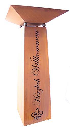 Dekosäule/Gartensäule mit Schale, Höhe 115 cm, Herzlich Willkommen