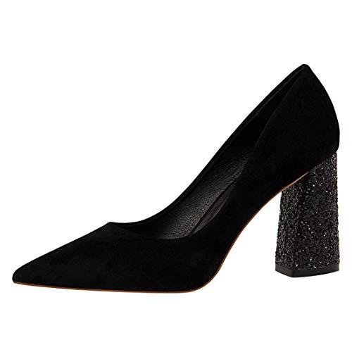 BSJ Damen Spitzen Schuhe Pumps mit Blockabsatz Chunky Heels Schuhe Chunky Heel