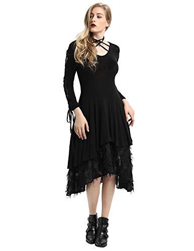 SCARLET DARKNESS Frauen Halloween Kostüm Hexe Party Cosplay langes Kleid Schwarz Größe M (Frauen Schwarze Hexe Kostüm)
