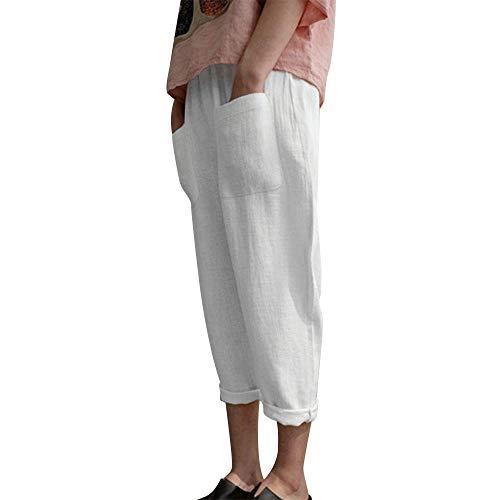 Yvelands Damen Mode Hosen Baumwolle Leinenmischung Tasche Übergröße Hosen Elastische Freizeithosen(Weiß1,2XL)
