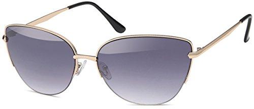 Cateye Damen Katzenaugen Sonnenbrille - fashion mirrored Metal Frame Women Sunglasses 409 (braun-Verlauf)