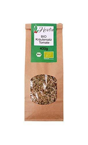 Hestia Bio Sal Sin Refinar De Hierbas Con Polvo De Tomate Para Sazonar Carne Sopas Hortalizas Patatas, 400g