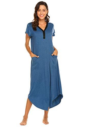 Skione Nachthemd Dmen lang Nachtkleid Kurzarm V-Ausschnitt Pyjama Negligee mit Taschen Stillnachthemd Modal -