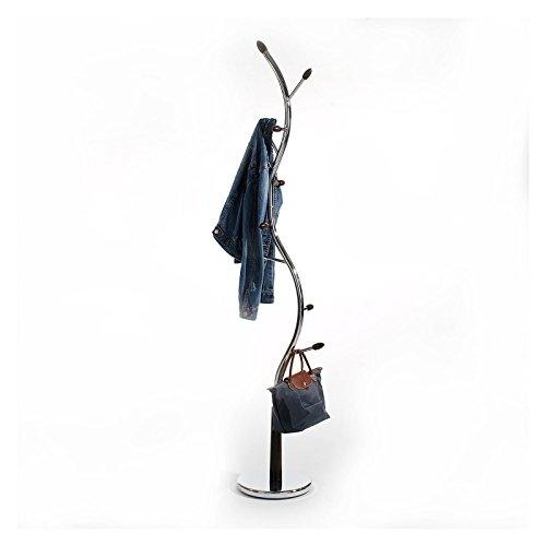 Kleiderständer Garderobenständer ASTRID mit 9 Kleiderhaken, verchromt und wengefarben