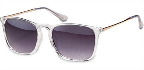 UVprotect unisex Retro Wayfarer Style Sonnenbrille transparent metall bügel lila verspiegelt W82-4