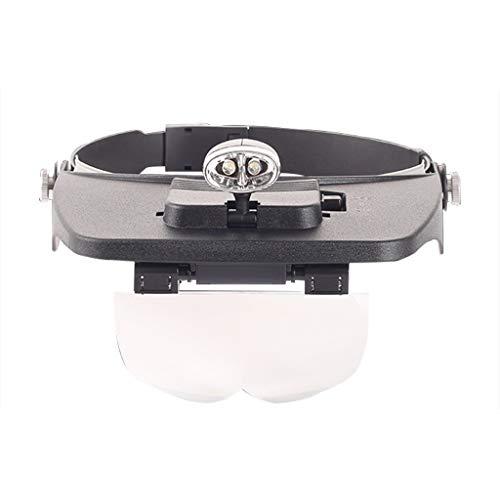 YANQ Head Mounted Lupe Deluxe Head-Worn LED-beleuchtete Lupe mit 4 verschiedenen Linsen (1,2X, 1,8X, 2,5X, 3,5X) Lupenleuchte mit Licht Lupenglas für Senioren (Farbe : Schwarz) - Deluxe Lupe