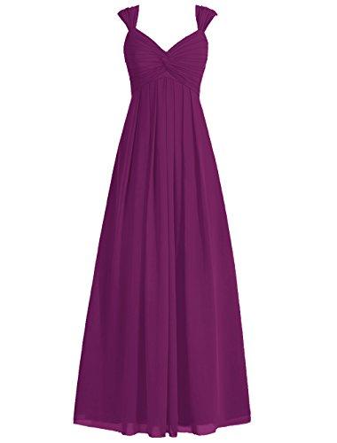Dresstells Bodenlang Abendkleider V-Ausschnitt Brautjungfernkleider Grape