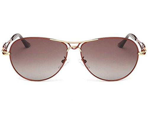 LQABW Lunettes De Soleil Pour Femmes Tone Classical Polarized Metal Sunglasses UV Protection,B