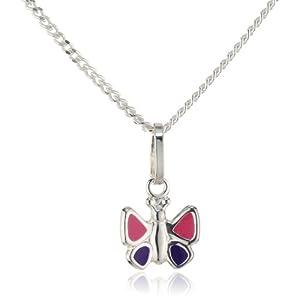 ZEEme for Kids Kinder Anhänger mit Kette 925 Sterling Silber 38/36cm Schmetterling Lack pink/lila 500244342