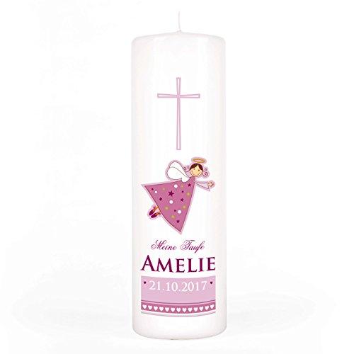 Striefchen/® Kerze zur Taufe//Kommunion//Konfirmation//Firmung mit Namen und Datum f/ür M/ädchen