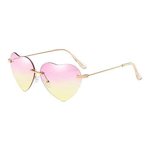 Storerine New Retro Love Ocean Piece Sonnenbrille Street Beat Pfirsich herzförmige Sonnenbrille Hippy Brille Herz Geformt Sonnenbrille for Hippie Verrücktes Kleid