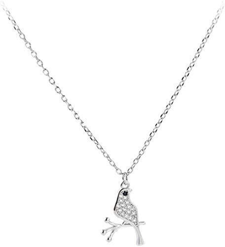 Halskette,Zubehör S925 Sterling Silber Kleine Fresh Bird Branch Kette Flash Drill Kleintier Schlüsselbein Kette Weiblich 40 + 5Cm Lieben