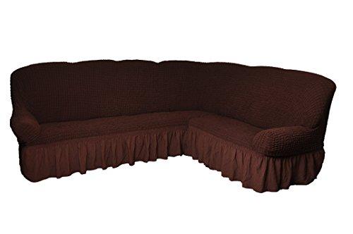 Bezug für Ecksofa 2er + 3er Eckcouch Sofabezug Husse in 7 Farben u0022braun Variante Bu0022