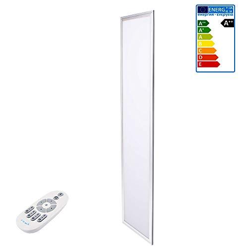 JAZAVA LED Deckenleuchte Dimmbar, 120 x 30 cm LED Panel Dimmbar, LED Deckenleuchte Farbwechsel(Warmweiß-Kaltweiß) mit 360°Kontrolle Fernbedienung für wohnzimmer, Weiß Rahmen