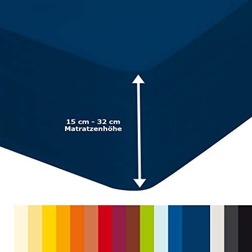 ""\""""Jersey Spannbettlaken"""" in Dunkel-Blau  Bettbezug für Wasserbetten, Boxspringbetten & Übergrößen | 180x200 bis 220x200 cm | Aquajersey Spannbetttuch aus Baumwolle & Elastan""