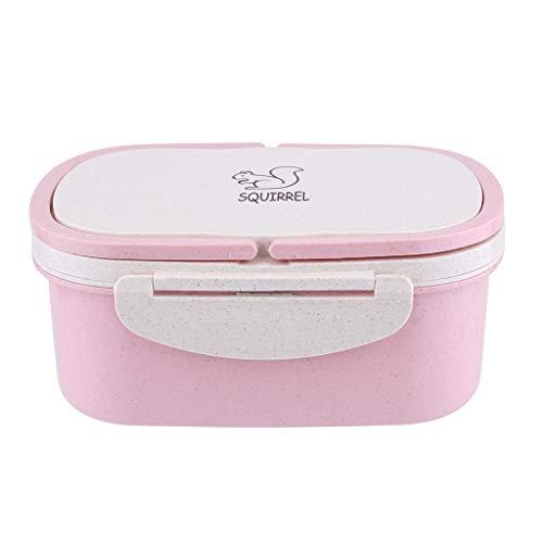 Altsommer Lunchbox, Essen Immer Dabei Haben Lunchbox mit Zwei Behältern, Brotdose für Schule und Arbeit Besteck Unterwegs Snackverpackung Mikrowellengeeignet Tragbare Lunchbox -