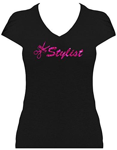 Premium Fun Shirt Damen Stylist Schriftzug mit Kamm und Schere Glitzeraufruck Friseur Schwarz/Pink